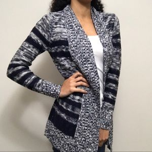 Charlotte Russe Navy Blue Striped Cardigan